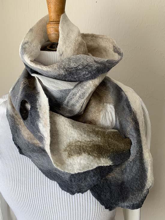 Carole Watson Nuno Felt Wool Scarf ~ 01
